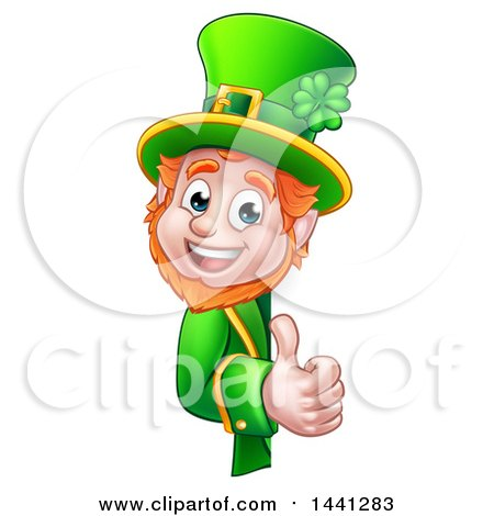 Clipart of a Cartoon Friendly St Patricks Day Leprechaun Holding a Thumb up Around a Sign - Royalty Free Vector Illustration by AtStockIllustration