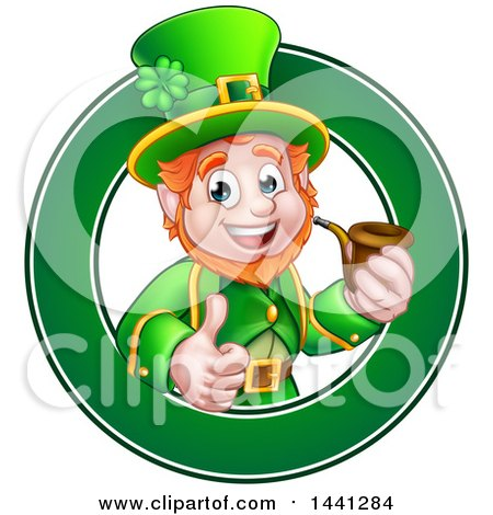 Clipart of a Cartoon Friendly St Patricks Day Leprechaun Giving a Thumb up and Smoking a Pipe in a Green Circle - Royalty Free Vector Illustration by AtStockIllustration