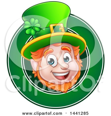 Clipart of a Cartoon Friendly St Patricks Day Leprechaun Face in a Green Circle - Royalty Free Vector Illustration by AtStockIllustration
