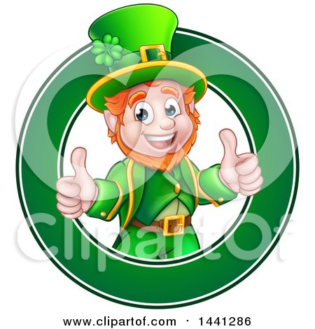 Clipart of a Cartoon Friendly St Patricks Day Leprechaun Giving Two Thumbs up in a Green Circle - Royalty Free Vector Illustration by AtStockIllustration