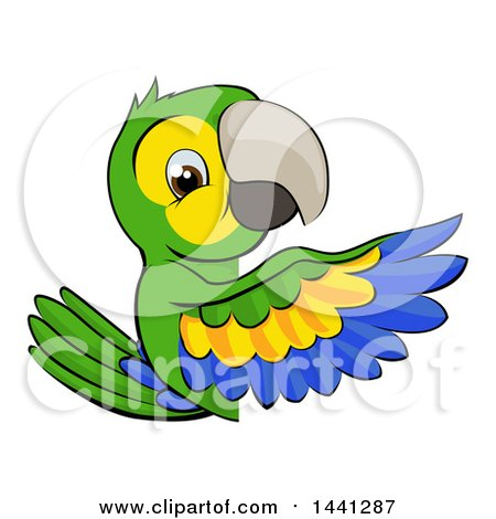 Clipart of a Cartoon Green Macaw Parrot Pointing Around a Sign - Royalty Free Vector Illustration by AtStockIllustration