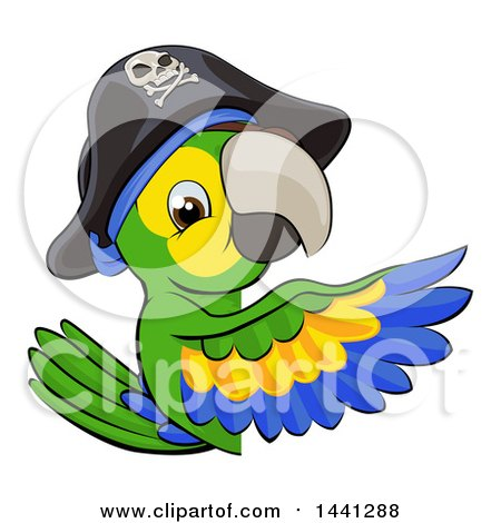 Clipart of a Green Macaw Pirate Parrot Pointing Around a Sign - Royalty Free Vector Illustration by AtStockIllustration