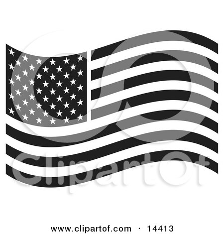 the American Flag Waving in the Breeze Clipart Illustration by Andy Nortnik