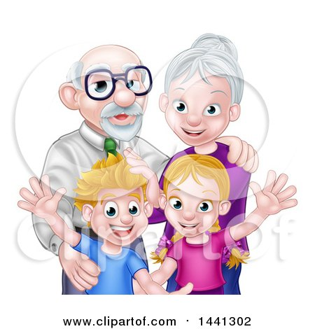 Clipart of a Happy Caucasian Senior Man and Woman with Their Grandchildren - Royalty Free Vector Illustration by AtStockIllustration
