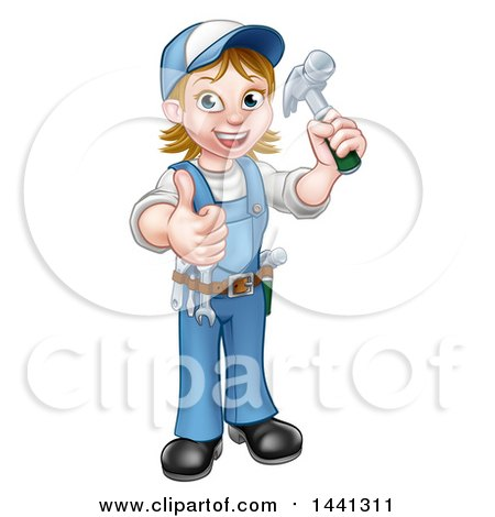 Clipart of a Cartoon Full Length Happy White Female Carpenter Holding up a Hammer and Giving a Thumb up - Royalty Free Vector Illustration by AtStockIllustration