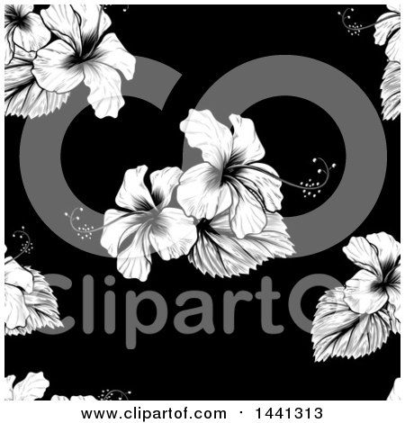 Clipart of a Seamless Black and White Tropical Hibiscus Flower Background Pattern - Royalty Free Vector Illustration by AtStockIllustration