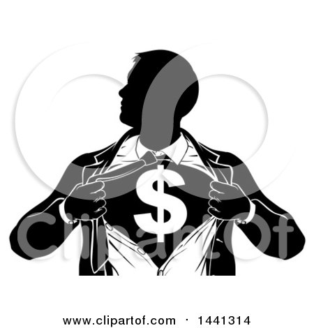 Clipart of a Black and White Silhouetted Strong Business Man Super Hero Ripping off His Suit, Revealing a Dollar Currency Symbol - Royalty Free Vector Illustration by AtStockIllustration