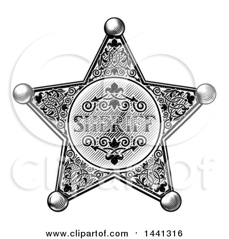 Clipart of a Black and White Vintage Etched Engraved Sheriff Star Badge - Royalty Free Vector Illustration by AtStockIllustration