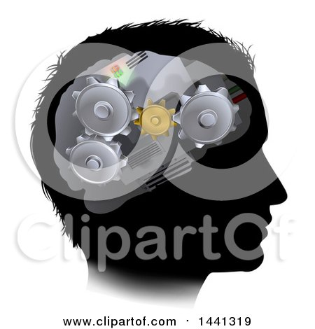 Clipart of a Black Silhouetted Man's Head with 3d Gear Cogs Visible in His Brain - Royalty Free Vector Illustration by AtStockIllustration