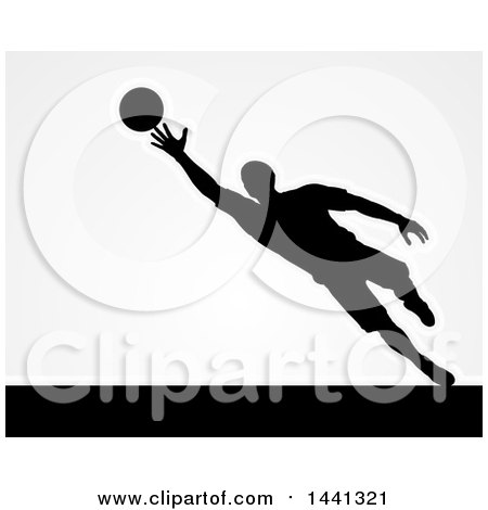 Clipart of a Black Silhouetted Goal Keeper Soccer Player Blocking the Ball, over Gray - Royalty Free Vector Illustration by AtStockIllustration