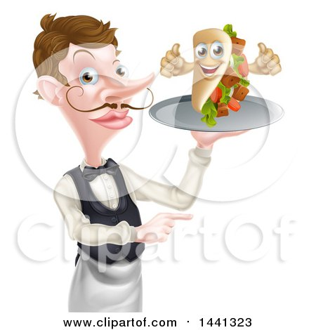 Clipart of a Cartoon Caucasian Male Waiter with a Curling Mustache, Holding a Kebab Sandwich Character on a Tray and Pointing - Royalty Free Vector Illustration by AtStockIllustration