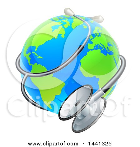 Clipart Of A Bright Blue And Green World Earth Globe With A Stethoscope Royalty Free Vector Illustration
