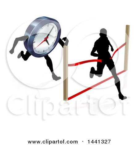 Clipart of a Silhouetted Man Running Through a Finish Line Before a Clock Character - Royalty Free Vector Illustration by AtStockIllustration