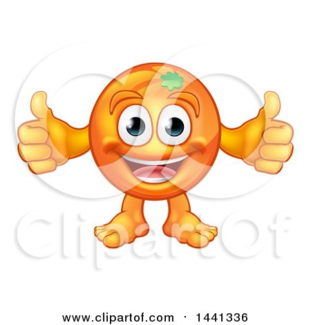 Clipart of a Cartoon Happy Orange Mascot Character Giving Two Thumbs up - Royalty Free Vector Illustration by AtStockIllustration