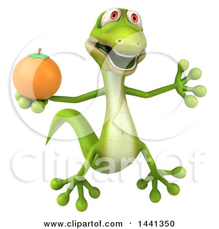 Clipart of a 3d Green Gecko Lizard, on a White Background - Royalty Free Illustration by Julos