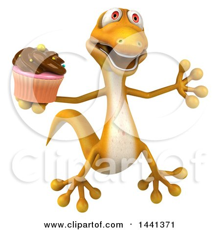 Clipart of a 3d Yellow Gecko Lizard, on a White Background - Royalty Free Illustration by Julos