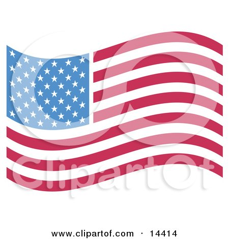 the American Flag With White Stars Over Blue and Rows of Red and White Stripes Clipart Illustration by Andy Nortnik