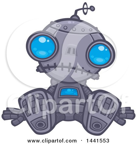 Clipart of a Depressed Blue Eyed Robot Sitting on the Ground - Royalty Free Vector Illustration by John Schwegel