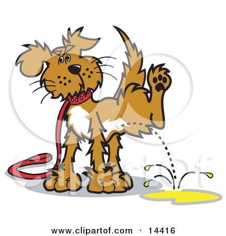 Dog on a Leash, Lifting His Leg to Pee Clipart Illustration by Andy Nortnik