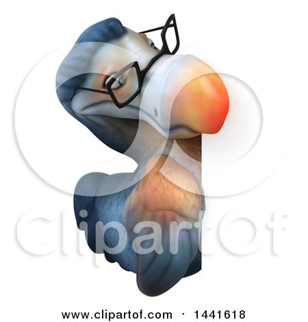 Clipart of a 3d Bespectacled Dodo Bird, on a White Background - Royalty Free Illustration by Julos
