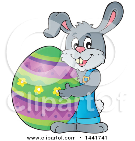 Clipart of a Happy Gray Easter Bunny Rabbit Holding a Giant Egg - Royalty Free Vector Illustration by visekart