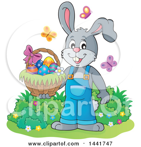Clipart of a Happy Gray Easter Bunny Rabbit Holding a Basket, with Butterflies - Royalty Free Vector Illustration by visekart
