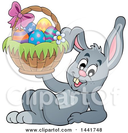 Clipart of a Happy Gray Easter Bunny Rabbit Resting and Holding a Basket - Royalty Free Vector Illustration by visekart