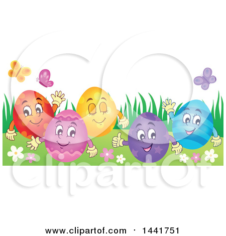 Clipart of a Group of Happy Easter Eggs in Grass - Royalty Free Vector Illustration by visekart