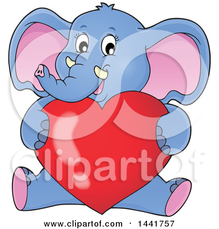 Clipart of a Valentine Elephant Sitting and Hugging a Love Heart - Royalty Free Vector Illustration by visekart