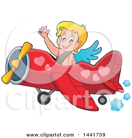 Clipart of a Valentines Day Cupid Waving and Flying an Airplane - Royalty Free Vector Illustration by visekart