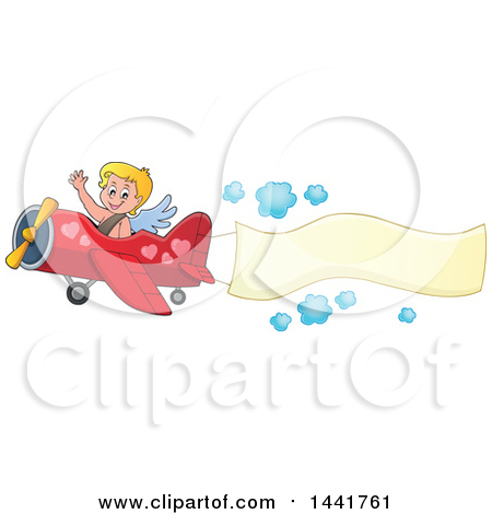 Clipart of a Valentines Day Cupid Waving and Flying an Airplane with an Aerial Banner - Royalty Free Vector Illustration by visekart