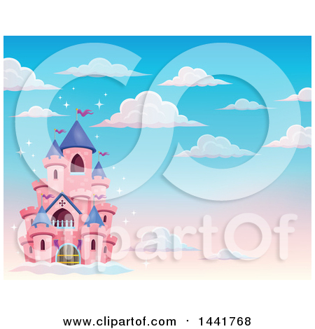 Clipart of a Pink Fairy Tale Castle in the Sky - Royalty Free Vector Illustration by visekart