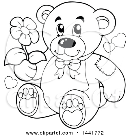 Clipart of a Black and White Lineart Teddy Bear Holding a Flower - Royalty Free Vector Illustration by visekart