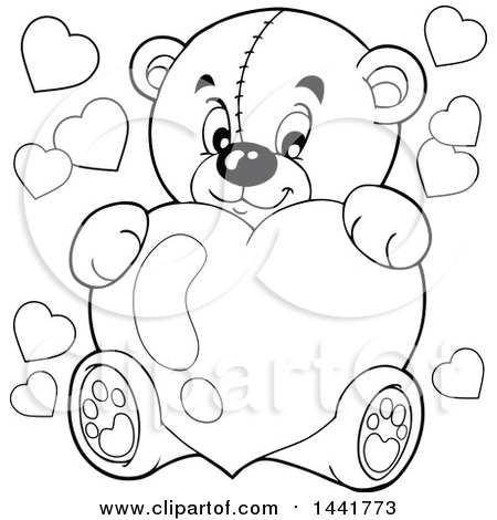 Clipart of a Black and White Lineart Valentine Teddy Bear Hugging a Heart - Royalty Free Vector Illustration by visekart