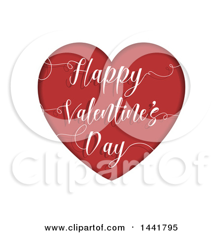 Clipart of a Red Happy Valentines Day Heart with a Greeting on White - Royalty Free Vector Illustration by KJ Pargeter
