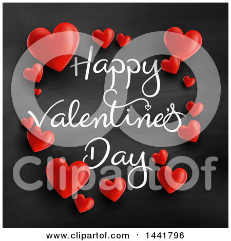 Clipart of a Frame of Red Hearts and Happy Valentines Day Text on a Blackboard - Royalty Free Vector Illustration by KJ Pargeter