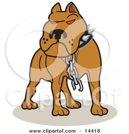 Tough Brown American Pitbull Terrier Dog With Red Eyes, Wearing A Spiked Collar And A Broken Chain Clipart Illustration by Andy Nortnik