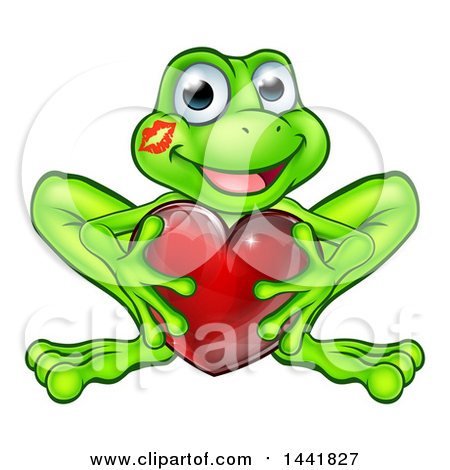 Clipart of a Cartoon Happy Smiling Green Frog with a Liptstick Kiss on His Cheek, Holding a Red Heart - Royalty Free Vector Illustration by AtStockIllustration