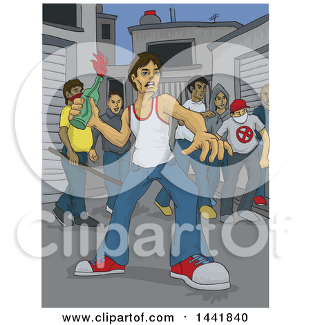 Clipart of a Group of Angry Violent Male Rioters, One Throwing a Bottle - Royalty Free Vector Illustration by David Rey