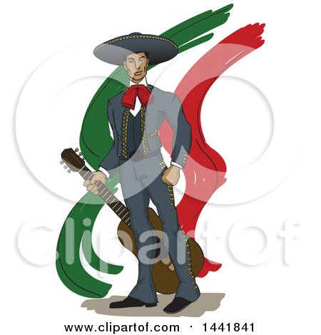 Proud Mariachi Man Holding a Guitar over Mexican Colored Streaks Posters, Art Prints