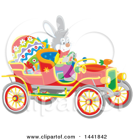 Clipart of an Easter Rabbit Driving a Vintage Convertible Car with a Giant Egg and Gifts - Royalty Free Vector Illustration by Alex Bannykh