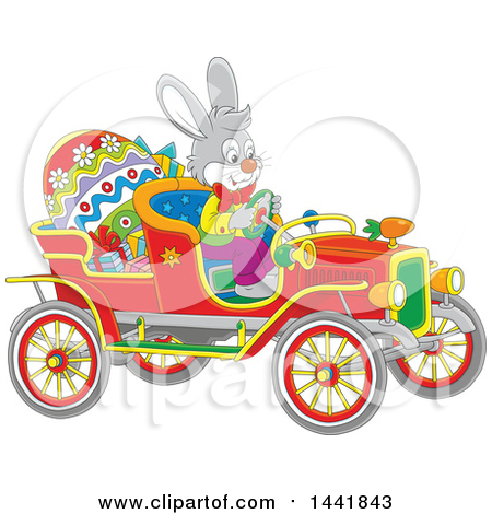 Clipart of a Cartoon Easter Bunny Rabbit Driving a Vintage Convertible Car with a Giant Egg and Gifts - Royalty Free Vector Illustration by Alex Bannykh