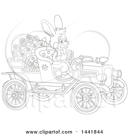 Clipart of a Cartoon Black and White Lineart Easter Bunny Rabbit Driving a Vintage Convertible Car with a Giant Egg and Gifts - Royalty Free Vector Illustration by Alex Bannykh
