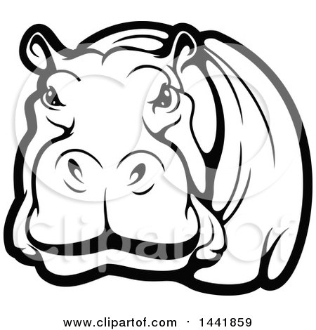 Clipart of a Black and White Hippo - Royalty Free Vector ...  Clipart of a Bl...