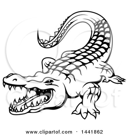 Clipart of a Black and White Crocodile - Royalty Free Vector Illustration by Vector Tradition SM