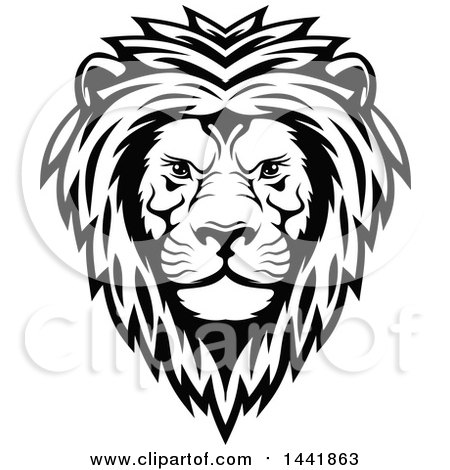 Clipart of a Black and White Male Lion Head - Royalty Free Vector Illustration by Vector Tradition SM