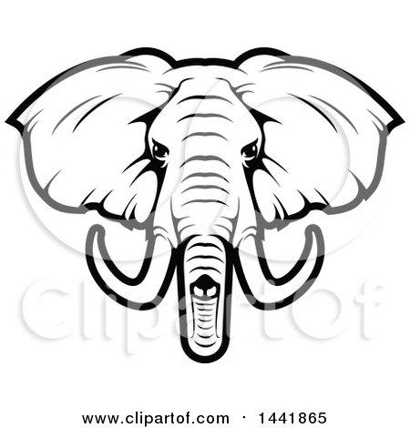 clipart of a black and white elephant head royalty free vector rh clipartof com Elephant Outline Clip Art Elephant Clip Art Black and White