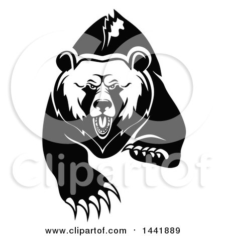 Clipart of a Black and White Running Angry Grizzly Bear - Royalty Free Vector Illustration by Vector Tradition SM