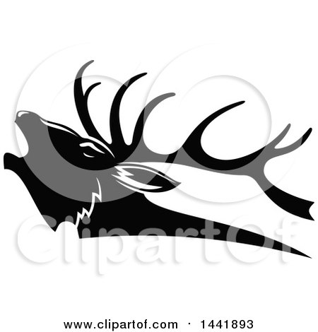 Clipart of a Black and White Elk Head in Profile - Royalty Free Vector Illustration by Vector Tradition SM