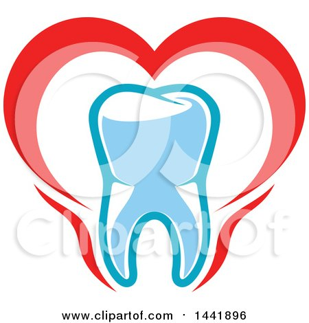 Clipart of a Red White and Blue Dental Tooth Logo - Royalty Free Vector Illustration by Vector Tradition SM
